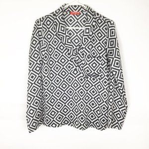 Josie Natori popover black white diamond shirt